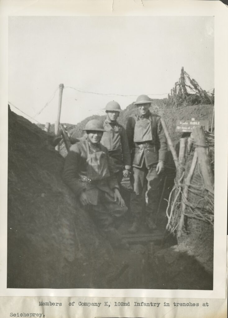 Members of Company K, 102nd Infantry in trenches at Seicheprey